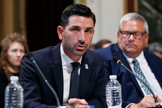 In this Oct. 29, 2019 photo, Department of Homeland Security Under Secretary Chad Wolf speaks during a meeting of the President's Interagency Task Force to Monitor and Combat Trafficking in Persons (PITF), in the Eisenhower Executive Office Building, on the White House complex in Washington.