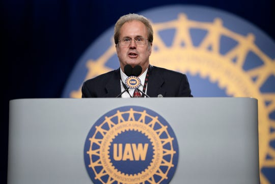 FILE — Former UAW President Gary Jones gives his first speech on the final day of the UAW constitutional convention at Cobo Center in Detroit on June 14, 2018.