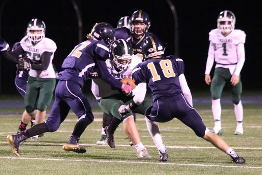 Newfield takes on Elmira Notre Dame in a Section 4 eight-man football semifinal Nov. 1, 2019 at Brewer Memorial Stadium.
