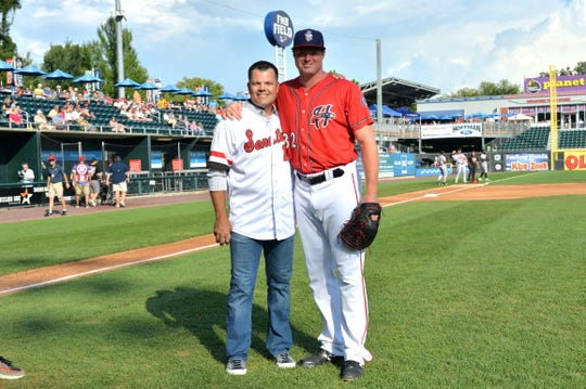 Aaron Barrett (right) with Jamey Carroll, who was honored by the Harrisburg Senators.