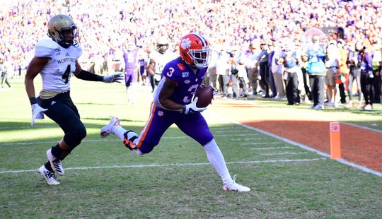 Clemson wide receiver Amari Rodgers (3) catches a touchdown pass from Trevor Lawrence in the first quarter against Wofford on Saturday, Nov. 2, 2019.