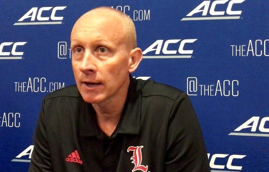 Louisville coach Chris Mack shares his thoughts on the transfer portal during the ACC's Basketball Tipoff in Charlotte.