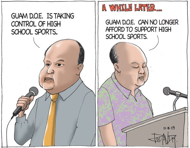 High school sports cartoon.