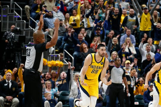Nov 1, 2019; Indianapolis, IN, USA; Indiana Pacers center Goga Bitadze (88) reacts to making a three point shot against the Cleveland Cavaliers during the fourth quarter at Bankers Life Fieldhouse. Mandatory Credit: Brian Spurlock-USA TODAY Sports