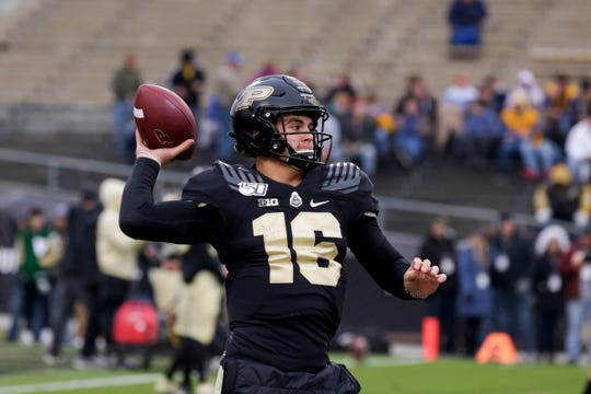 Purdue quarterback Aidan O'Connell (16) warms up prior to a NCAA football game between the Purdue Boilermakers and the Nebraska Cornhuskers, Saturday, Nov. 2, 2019 at Ross-Ade Stadium in West Lafayette.