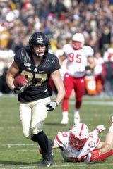 Purdue tight end Payne Durham (87) escapes Nebraska safety Eli Sullivan (30) to score during the first half of a NCAA football game, Saturday, Nov. 2, 2019 at Ross-Ade Stadium in West Lafayette.