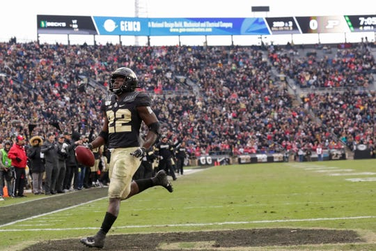 Purdue running back King Doerue (22) runs the ball into the end zone to score during the first half of a NCAA football game, Saturday, Nov. 2, 2019 at Ross-Ade Stadium in West Lafayette.