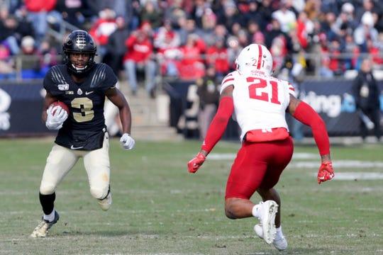 Purdue wide receiver David Bell (3) runs the ball towards Nebraska cornerback Lamar Jackson (21) during the first half of a NCAA football game, Saturday, Nov. 2, 2019 at Ross-Ade Stadium in West Lafayette.