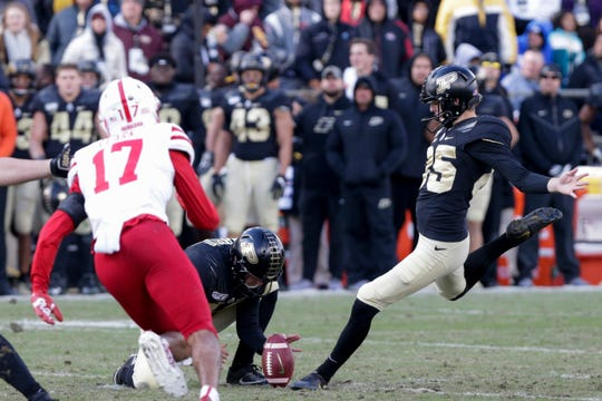 Purdue kicker J.D. Dellinger (85) kicks in an extra point during the third quarter of a NCAA football game, Saturday, Nov. 2, 2019 at Ross-Ade Stadium in West Lafayette.