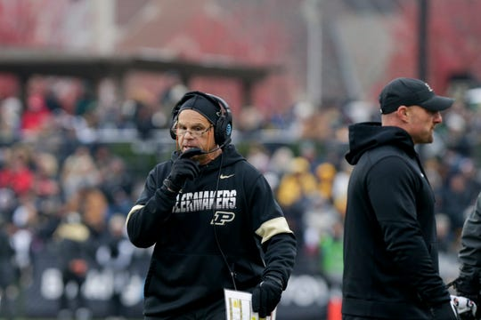 Purdue co-defensive coordinator Nick Holt talks into a headset during the first quarter of a NCAA football game, Saturday, Nov. 2, 2019 at Ross-Ade Stadium in West Lafayette.