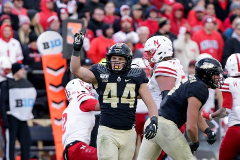 Purdue linebacker Ben Holt (44) reacts after a sack during the fourth quarter of a NCAA football game, Saturday, Nov. 2, 2019 at Ross-Ade Stadium in West Lafayette.
