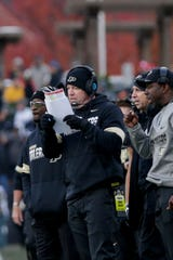 Purdue head coach Jeff Brohm looks at a play sheet during the fourth quarter of a NCAA football game, Saturday, Nov. 2, 2019 at Ross-Ade Stadium in West Lafayette.