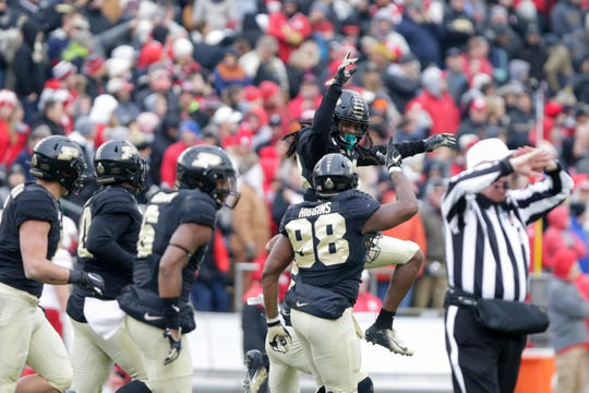 Purdue safety Cory Trice (23) celebrates an interception during the second quarter of an NCAA football game, Saturday, Nov. 2, 2019, at Ross-Ade Stadium in West Lafayette.