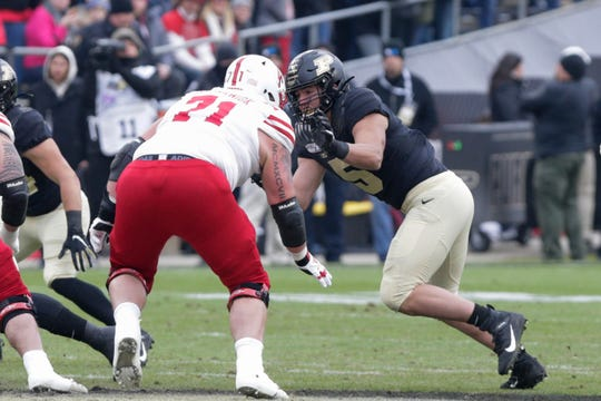 Purdue defensive end George Karlaftis (5) goes up agianst Nebraska offensive lineman Matt Farniok (71) during the first quarter of a NCAA football game, Saturday, Nov. 2, 2019 at Ross-Ade Stadium in West Lafayette.
