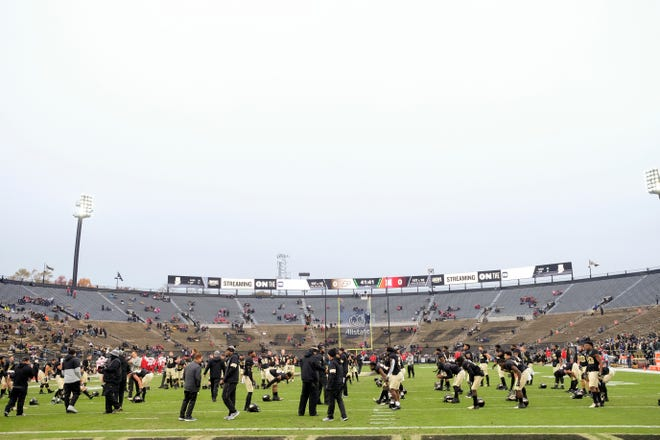Purdue players warm up prior to a NCAA football game between the Purdue Boilermakers and the Nebraska Cornhuskers, Saturday, Nov. 2, 2019 at Ross-Ade Stadium in West Lafayette.