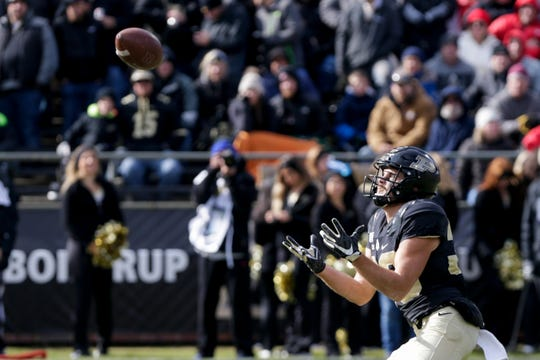Purdue wide receiver Jackson Anthrop (33) catches the punt return during the third quarter of a NCAA football game, Saturday, Nov. 2, 2019 at Ross-Ade Stadium in West Lafayette.