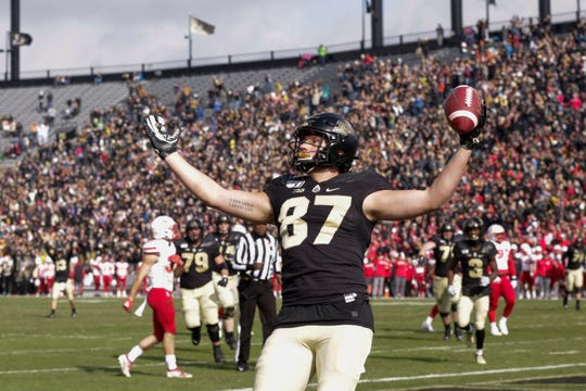 Purdue tight end Payne Durham (87) celebrates a touchdown during the first half of a NCAA football game, Saturday, Nov. 2, 2019 at Ross-Ade Stadium in West Lafayette.