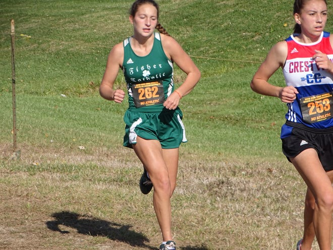 Fisher Catholic's Natalie Boyden placed first during Saturday's Fort Frye Invitational with a time of 19:18.4, and in the process, broke the Fort Fyre girls' course record.