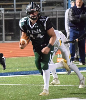 Fisher Catholic senior running back Trey Fabrocini rushed for 275 yards and four touchdowns to help lead the Irish to a 62-32 win over Troy Christian Friday night at Fulton field.
