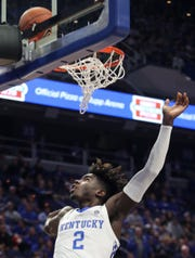 Kentucky's Kahlil Whitney watches to see if his shot drops against KSU on Nov. 1, 2019.