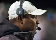 South Oldham head football coach Jamie Reed watches his team's performance during the game.01 November 2019