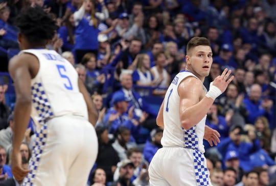 Kentucky's Nate Sestina celebrates making a three against KSU on Nov. 1, 2019.