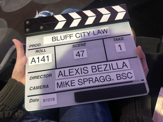 Alexis Bezilla was given a custom clapperboard while visiting the set of 'Bluff City Law.'