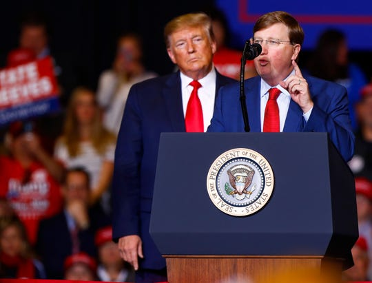 Lieutenant Governor of Mississippi Tate Reeves speaks at the Keep America Great Rally at BancorpSouth Arena in Tupelo, Miss., Friday, Nov. 1, 2019.