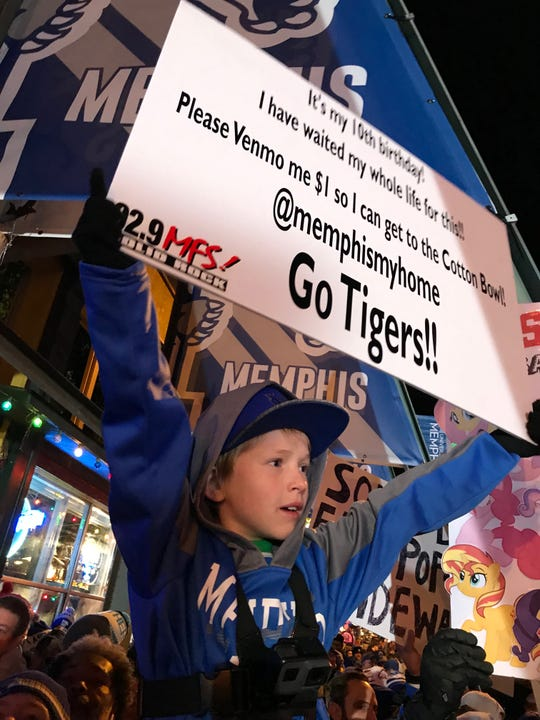 Nixxon Cisneros celebrated his 10th birthday at the GameDay broadcast from Beale Street on Nov. 2, 2019.