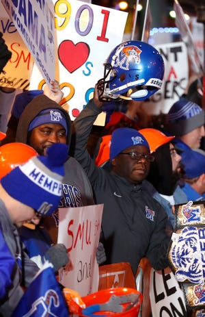 "Fans line Beale Street to watch the live broadcast of ESPN's ""College GameDay"" on Saturday morning, Nov. 2, 2019."