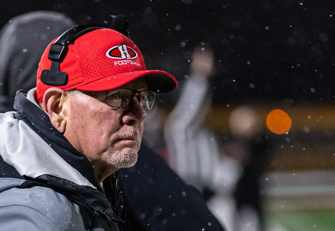 Homestead head coach Dave Keel follows the action during the Division 2 Level 2 playoff game at Menomonee Falls on Friday, Nov. 1, 2019.