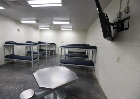 This room contains the 12 bunks for the Baxter County Detention Center's 309 inmates. 309s are state prisoners that work at the jail performing a variety of tasks. Baxter County's 309 inmates enjoy television privileges, something that the typical inmate is not afforded.
