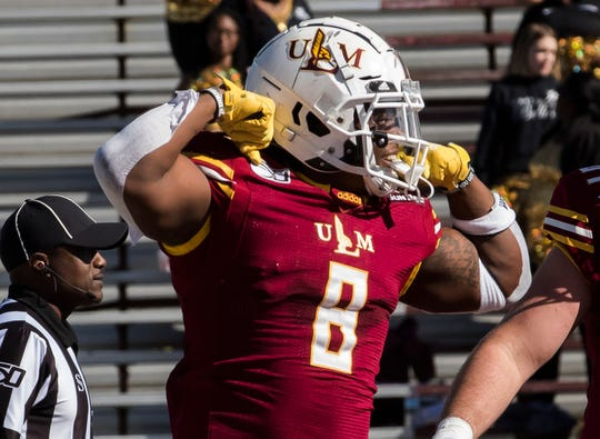 Running back Josh Johnson's (8) 20 carries for 168 yards and two touchdowns led ULM and pushed him over 1,000 yards on the season. Johnson is ULM's first 1,000-yard rusher since Frank Goodin in 2009.