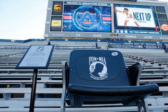 Nov 2, 2019; Auburn, AL, USA;  A stadium chair in honor of Prisoners of War and Missing in Action will be dedicated during a game between the Mississippi Rebels and the Auburn Tigers at Jordan-Hare Stadium. Mandatory Credit: John Reed-USA TODAY Sports