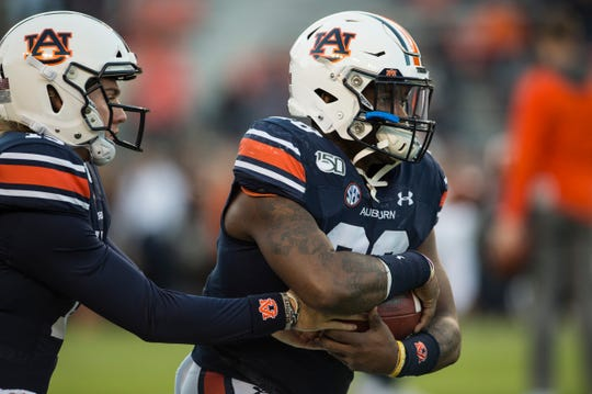 Auburn running back JaTarvious Whitlow (28) during warm ups before taking on Ole Miss at Jordan-Hare Stadium in Auburn, Ala., on Saturday, Nov. 2, 2019.
