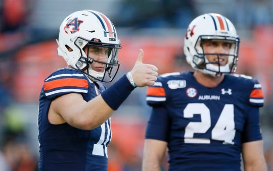 Auburn quarterback Bo Nix (10) during warm-ups before a game against Ole Miss at Jordan-Hare Stadium on Nov. 2, 2019.