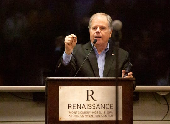 U.S. Sen. Doug Jones makes a surprise visit during a meeting of the Youth Caucus at the Alabama Democratic Party meeting.