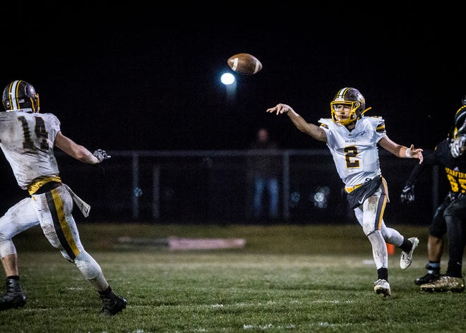 FILE -- Monroe Central faces off against South Adams on Nov. 1, 2019. Monroe Central won its 2020 season opener against Wabash 29-14.