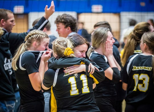 Cowan celebrates their 3-0 semi state win over Morgan Township at Frankfort High School Saturday, Nov. 2, 2019.