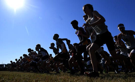 Boys start their race at the TSSAA Division 1 cross country state meet at Percy Warner Park in Nashville on Saturday, Nov. 2, 2019.