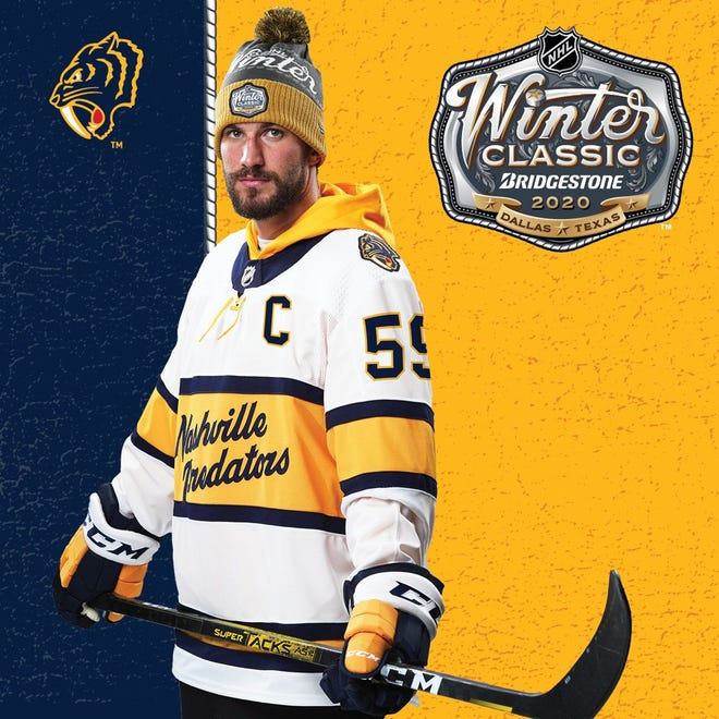 Roman Josi models the Predators' 2020 Winter Classic sweater