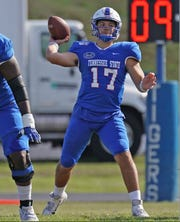 Tennessee State quarterback Cameron Rosendahl throws a pass in the Tigers' game Saturday against Southeast Missouri at Hale Stadium.