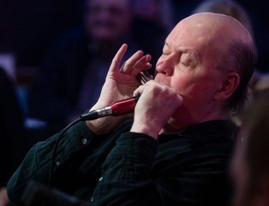 Jelly Roll Johnson plays the harmonica at the Bluebird Cafe Friday November 1, 2019.
