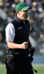Charlotte head coach Will Healy celebrates their touchdown  against Middle Tennessee during the second quarter at Jerry Richardson Stadium Saturday, Nov. 2, 2019 in Charlotte, N.C.
