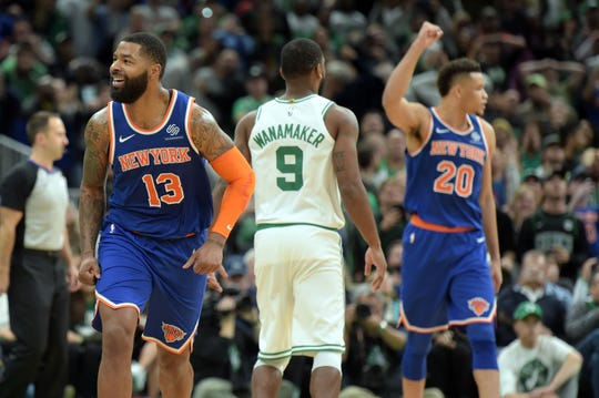 Nov 1, 2019; Boston, MA, USA; New York Knicks forward Marcus Morris Sr. (13) reacts after hitting a game tying three point shot during the second half against the Boston Celtics at TD Garden.