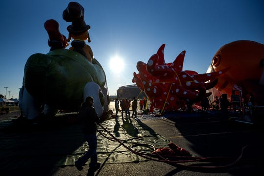 Macy's tests the new Thanksgiving Parade balloons in East Rutherford on Saturday November 2, 2019. Balloons are back lit by the sun.