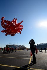 Macy's tests the new Thanksgiving Parade balloons in East Rutherford on Saturday November 2, 2019. The Love Flies Up to the Sky balloon designed by artist Yayoi Kusama takes a test flight around the parking lot of Metlife Stadium.