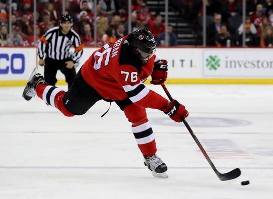 P.K. Subban #76 of the New Jersey Devils takes a shot in the second period against the Philadelphia Flyers at Prudential Center on Nov. 1, 2019 in Newark, New Jersey.
