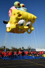 Macy's tests the new Thanksgiving Parade balloons in East Rutherford on Saturday November 2, 2019. A Spongebob Squarepants and Gary balloon is launched in the parking lot of Metlife stadium.