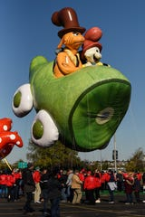 Macy's tests the new Thanksgiving Parade balloons in East Rutherford on Saturday November 2, 2019. The Green Eggs and Ham balloons takes a test run around the parking lot at Metlife Stadium.